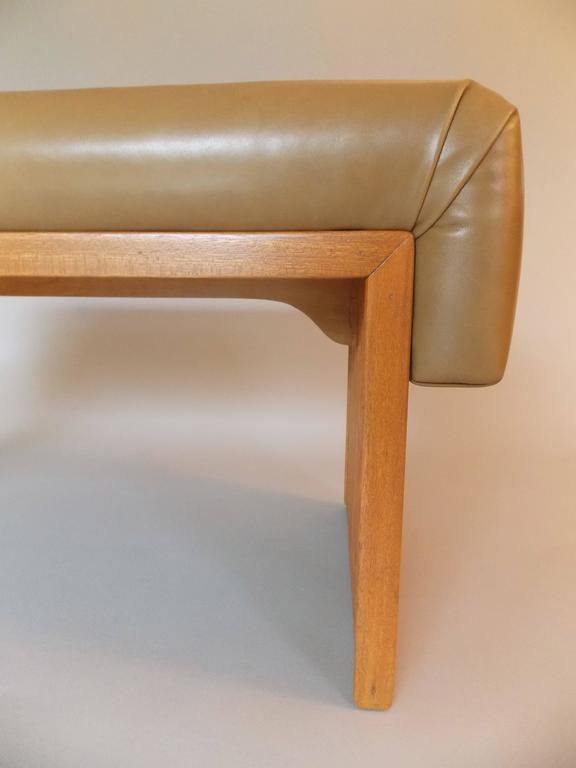 Rare Paul Frankl Occasional Leather Bench For Brown And