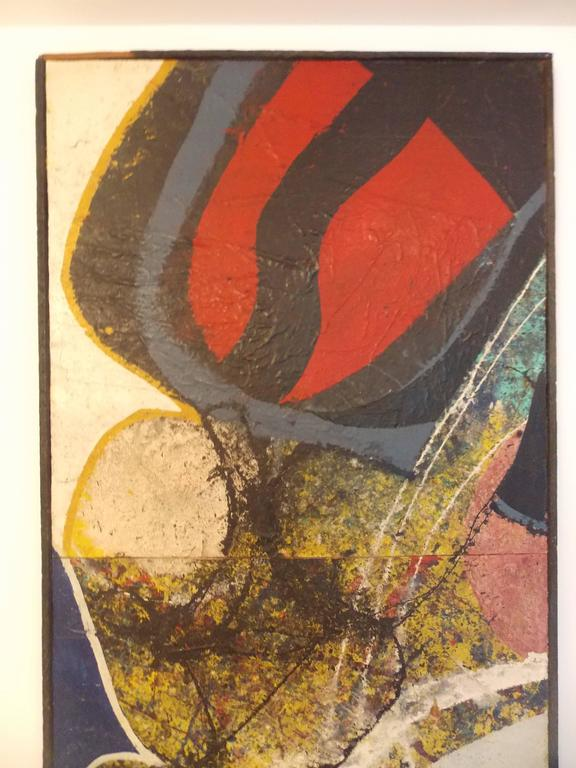 1935-2005. This is a mixed medium piece of art with three panels. It's stylistically strong with a wonderful juxtaposition of colors and forms.  Paint with collage on canvas on board with wood frame. The frame shows wear.  The painting itself is in