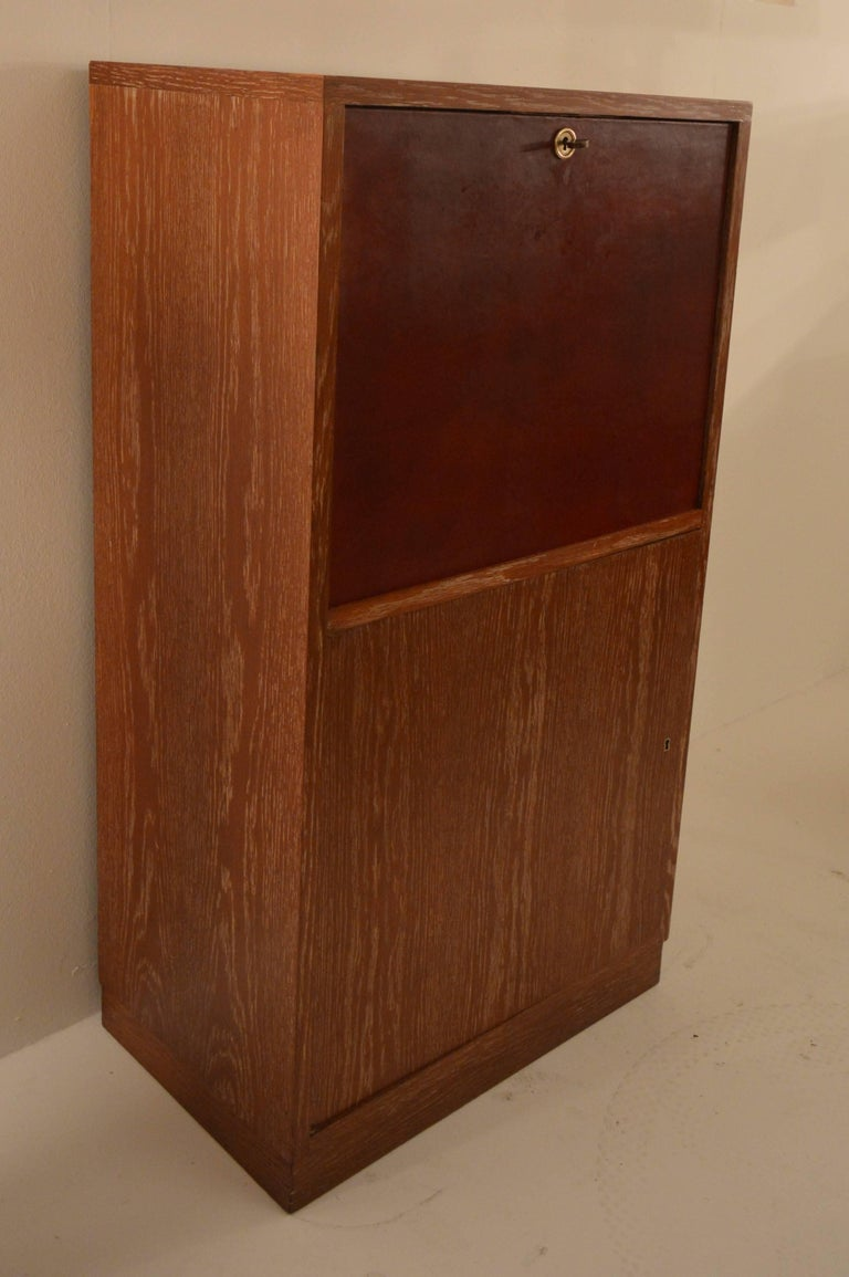 Art Deco Secretary in Oak with Door Covered in Core-Leather by Charles Dudouyt For Sale 1