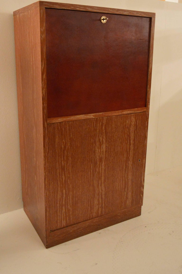 Art Deco Secretary in Oak with Door Covered in Core-Leather by Charles Dudouyt In Good Condition For Sale In Castenray, NL