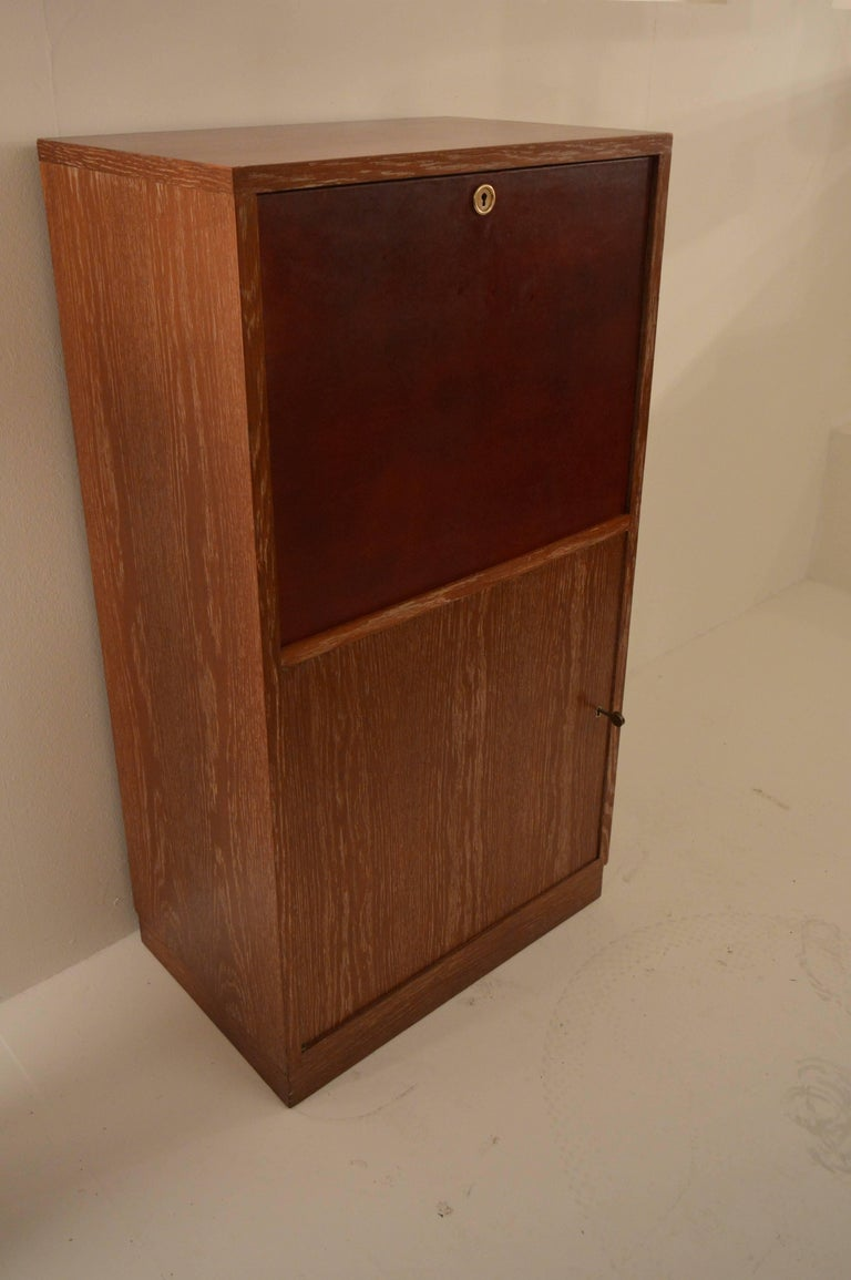 Art Deco Secretary in Oak with Door Covered in Core-Leather by Charles Dudouyt For Sale 3