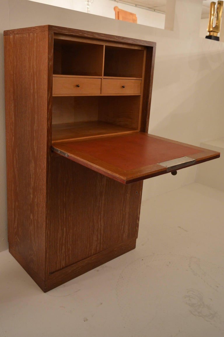 French Art Deco Secretary in Oak with Door Covered in Core-Leather by Charles Dudouyt For Sale