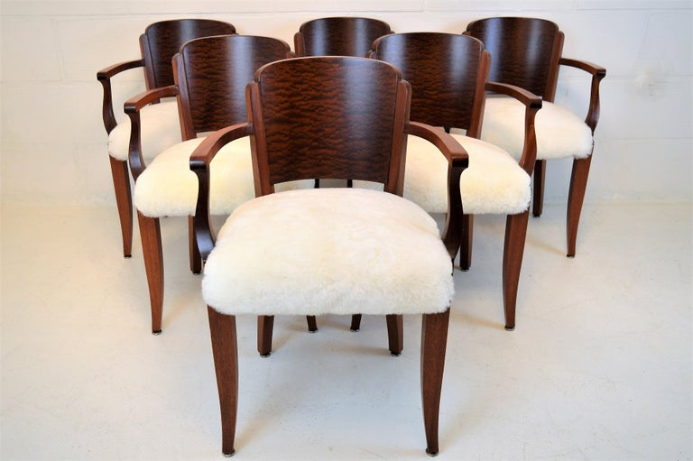 Gaston Poisson Art Deco Armchairs Covered with Sheepskin in Solid Mahogany In Good Condition For Sale In Castenray, NL