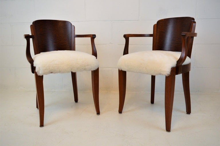 Gaston Poisson Art Deco Armchairs Covered with Sheepskin in Solid Mahogany For Sale 6