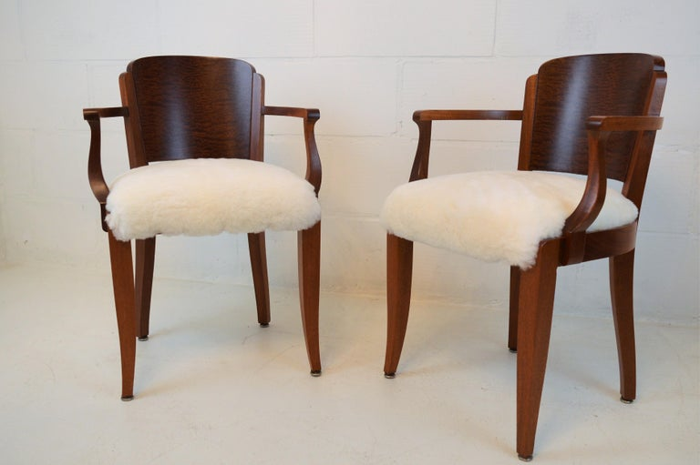 Gaston Poisson Art Deco Armchairs Covered with Sheepskin in Solid Mahogany For Sale 1