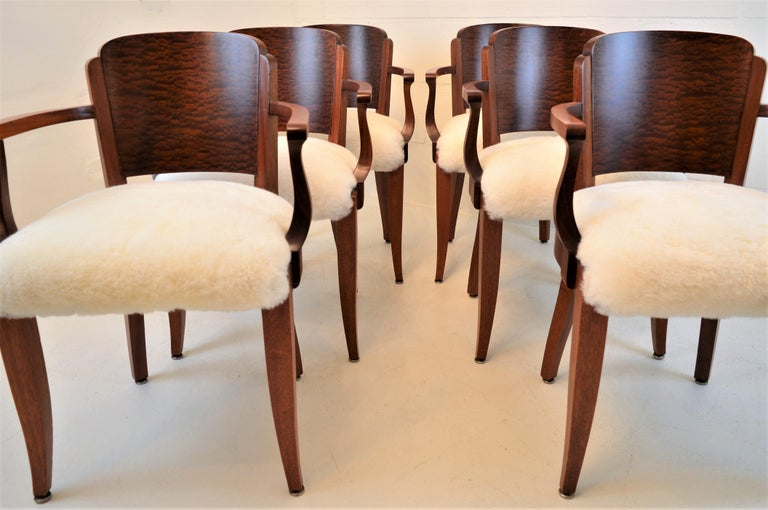 Gaston Poisson Art Deco Armchairs Covered with Sheepskin in Solid Mahogany For Sale 2
