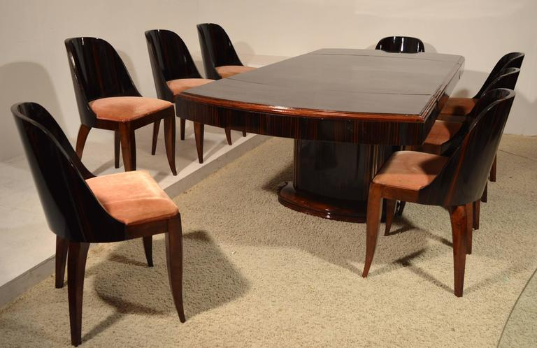 Art Deco Dining Table With Eight Chairs In Ebony Macassar 2