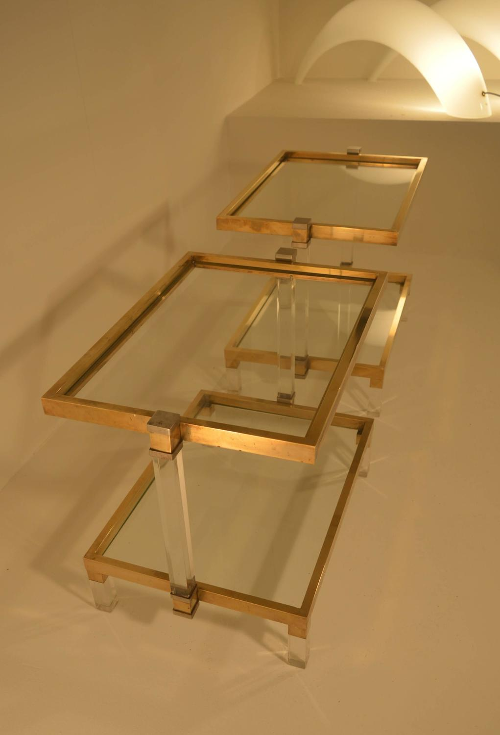 Unusual Pair Of Minimalistic Coffee Tables In Lucite And Brass At 1stdibs