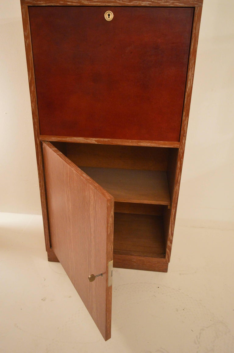 Art Deco Secretary in Oak with Door Covered in Core-Leather by Charles Dudouyt For Sale 2