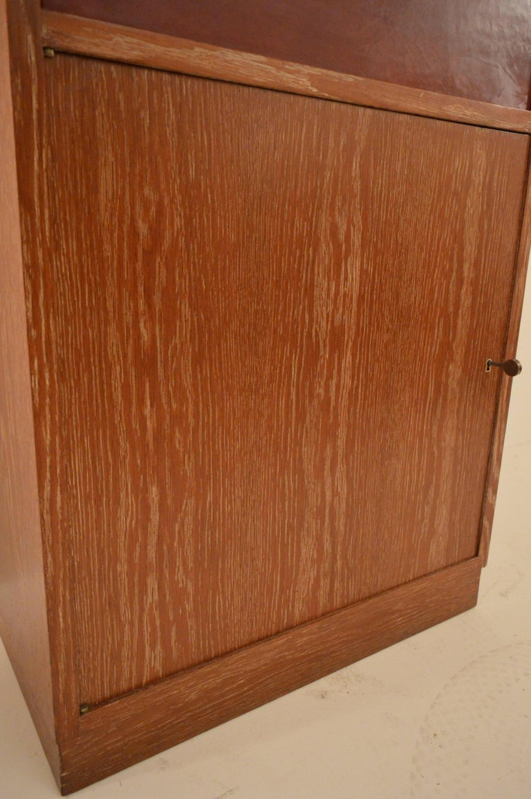 Art Deco Secretary in Oak with Door Covered in Core-Leather by Charles Dudouyt For Sale 4