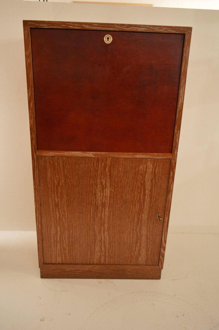 Mid-20th Century Art Deco Secretary in Oak with Door Covered in Core-Leather by Charles Dudouyt For Sale