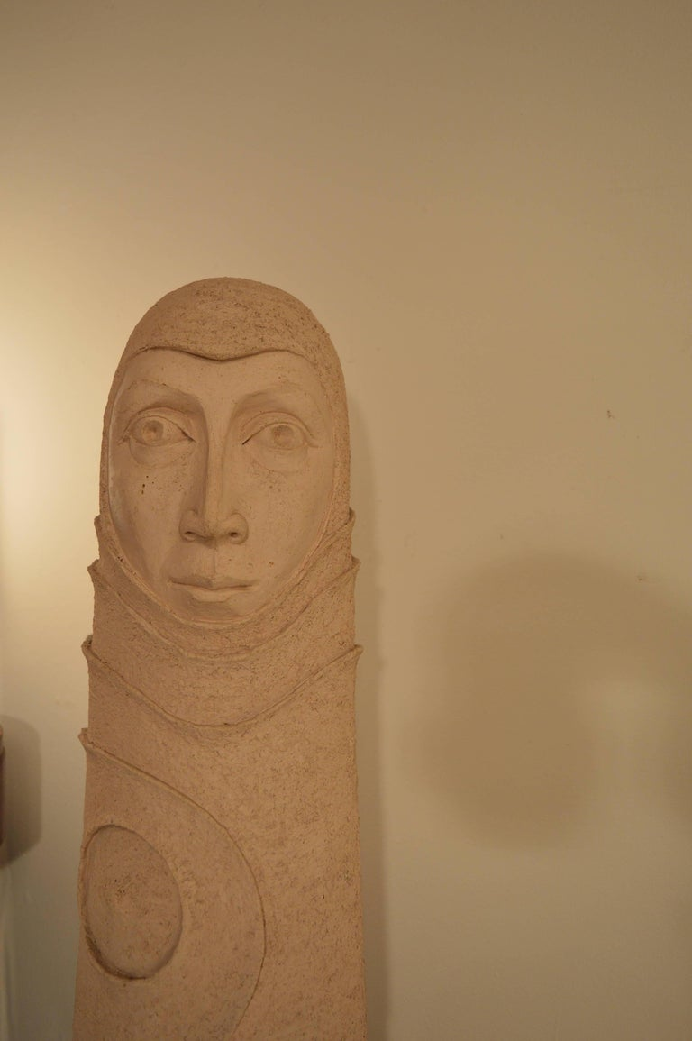 Late 20th Century Large Ceramic Sculpture of a Woman's Head, 1980s For Sale