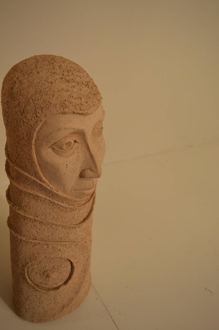 Large Ceramic Sculpture of a Woman's Head, 1980s For Sale 2