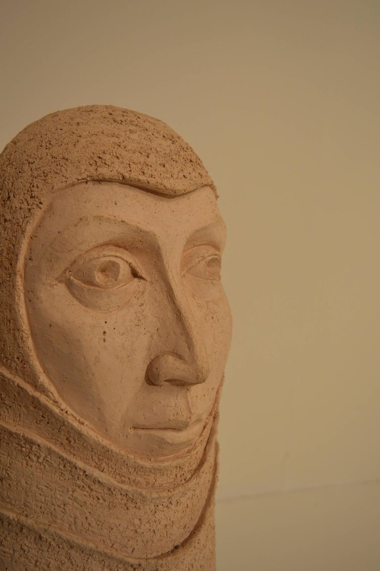 Hand-Crafted Large Ceramic Sculpture of a Woman's Head, 1980s For Sale