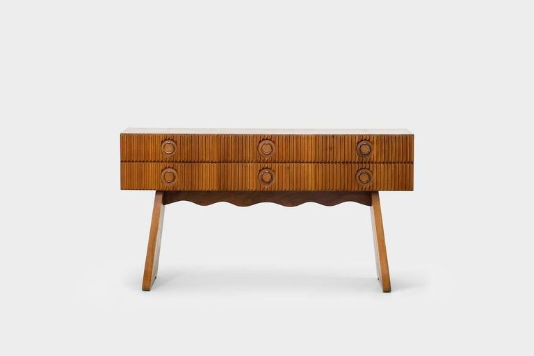 """Paolo Buffa (1903-1970) Buffet circa 1943 Walnut, brass and cane """"Certificate of Authenticity"""" from the Paolo Buffa archives."""