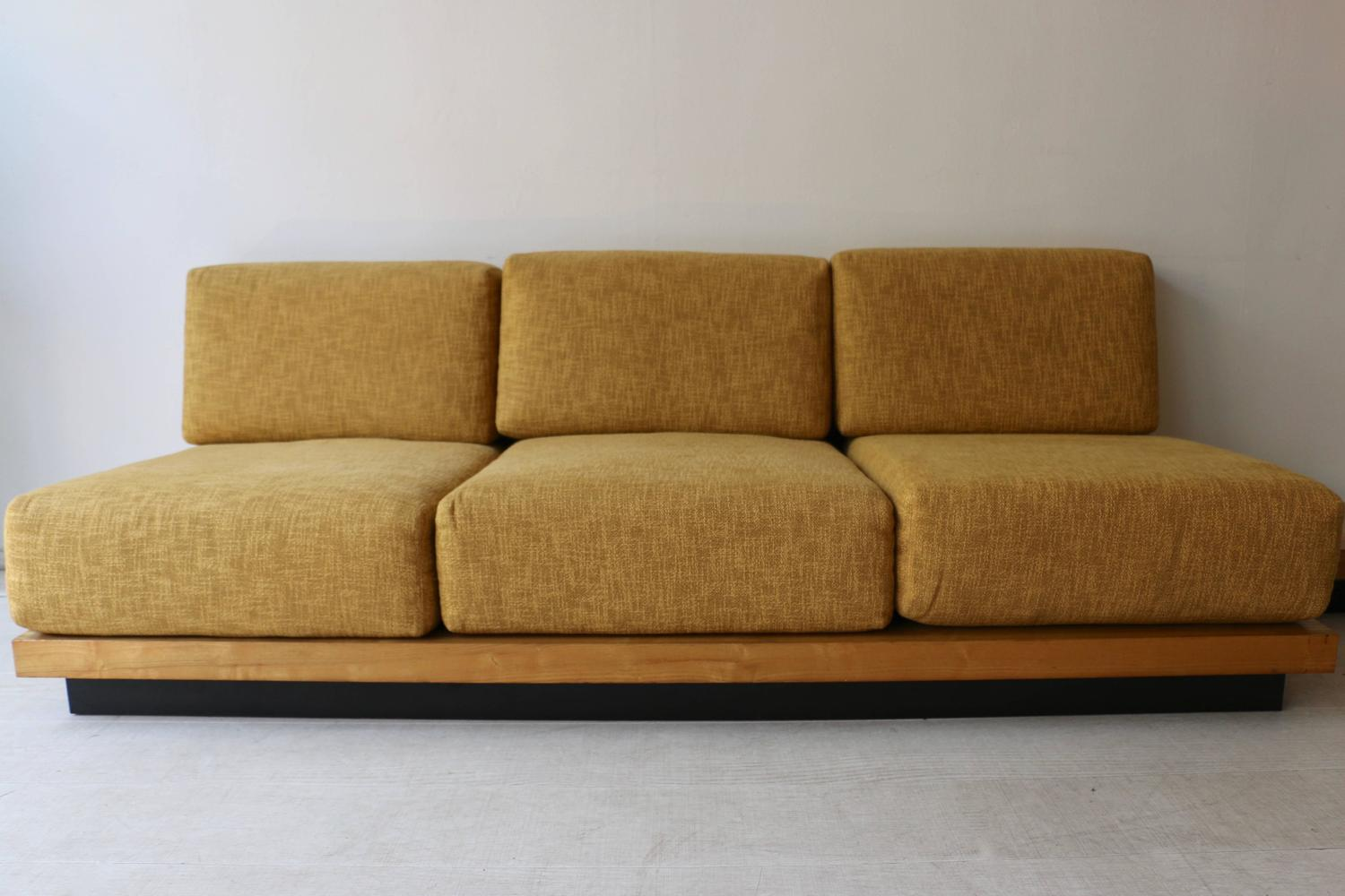 Three Seat Sofa In Wood And Yellow Fabric By Gustave