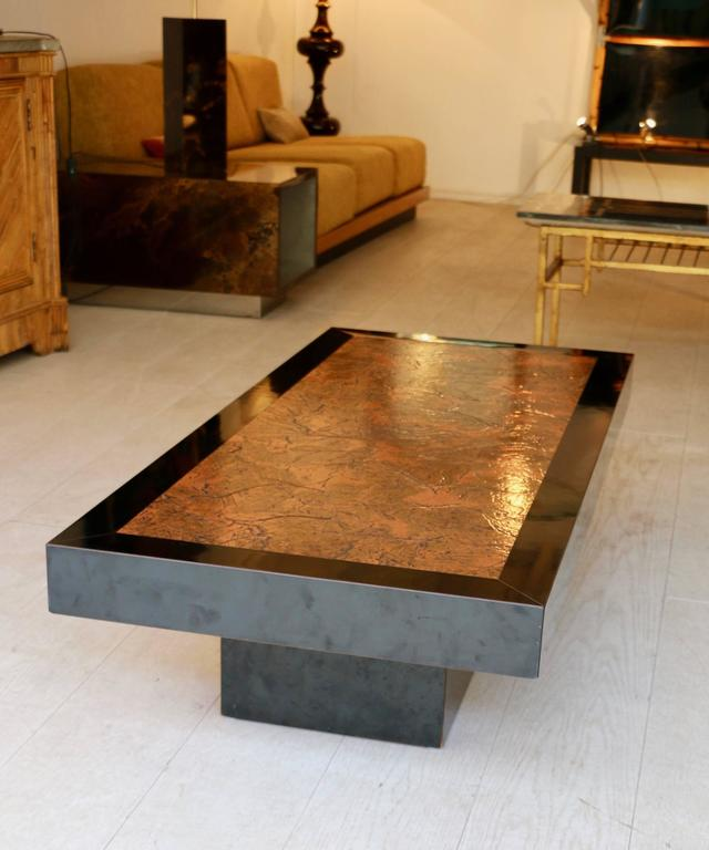 Black Copper Coffee Table: 1970s Coffee Table In Copper And Black Bakelite At 1stdibs