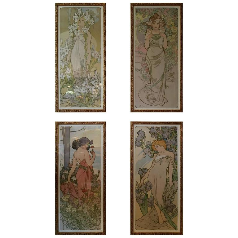 """Set of Four Original Lithographs by Alphonse Mucha """"The Flowers,"""" circa 1898"""