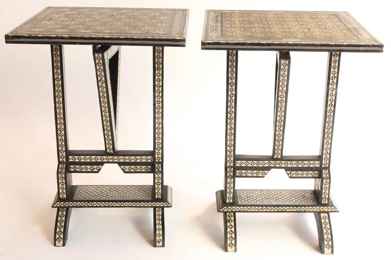 Pair Of Syrian Mother Of Pearl Inlaid Tilt Top Side Tables 2