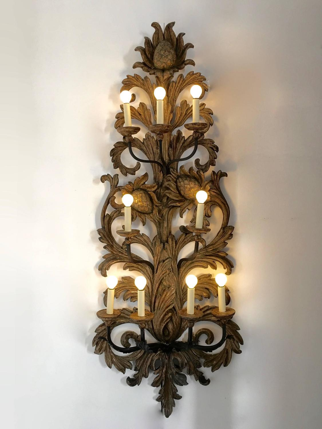 Pair of Very Large Wooden Carved Wall Lights, Italy, 1900 For Sale at 1stdibs