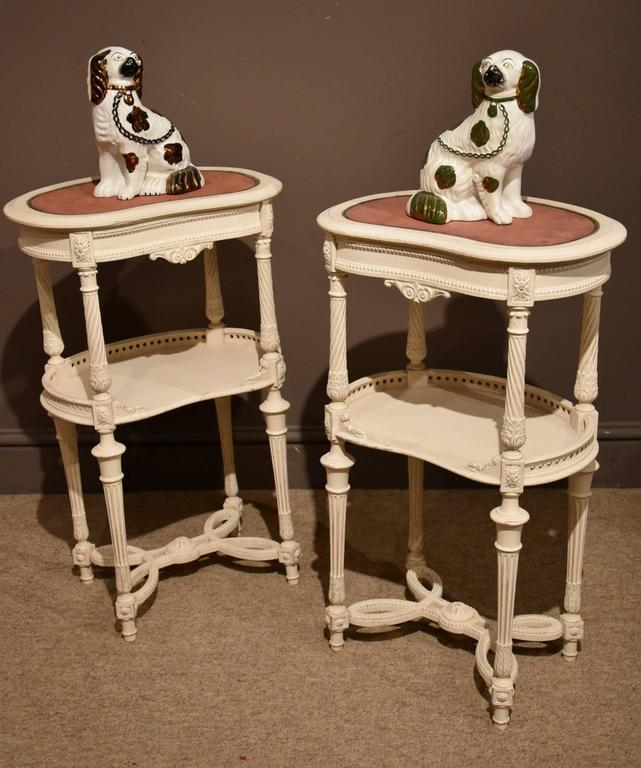 Late 19th century pair of carved and decorated bedside for 12 wide bedside table