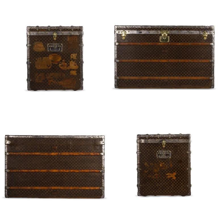antique 19th century louis vuitton damier malle haute courier trunk circa 1890 at 1stdibs. Black Bedroom Furniture Sets. Home Design Ideas