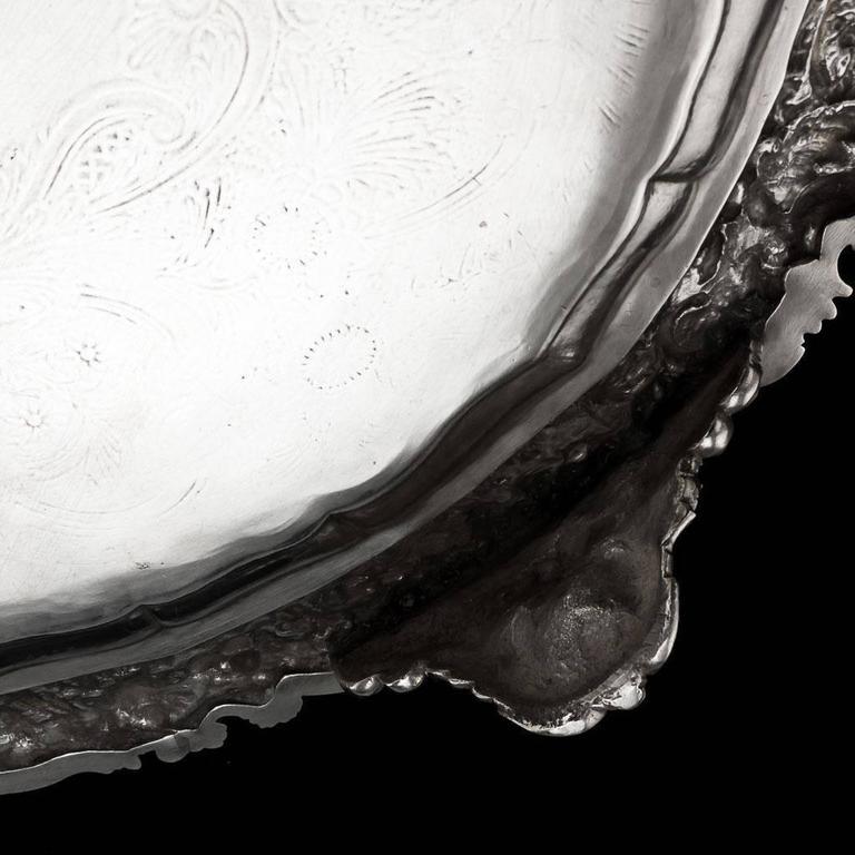 English 19th Century Regency Solid Silver Magnificent Salver Tray, J Hayne, circa 1827 For Sale