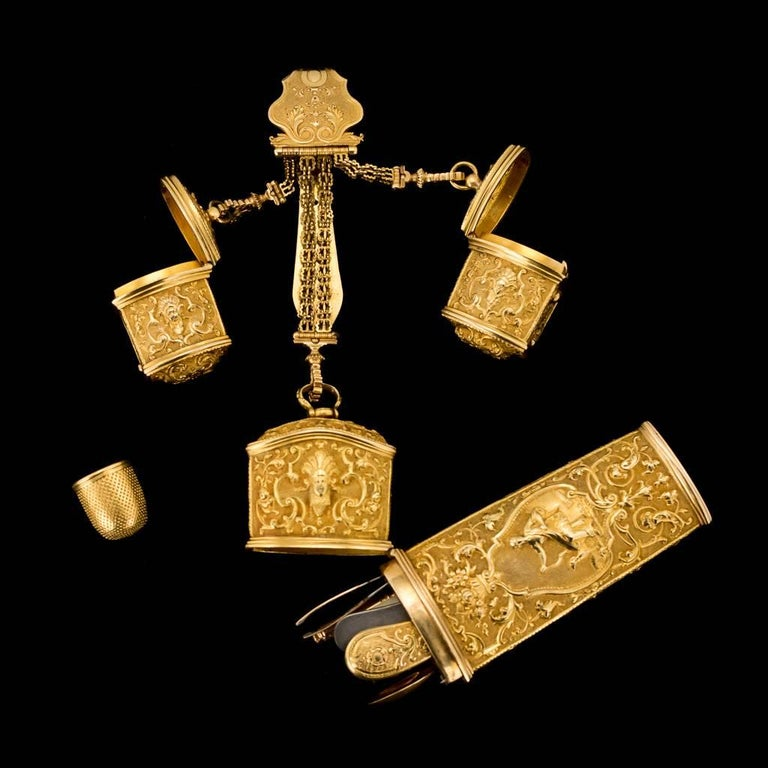 English Antique 18thC Georgian 18-K Gold Chatelaine Etui Christopher Nicholle, c. 1750 For Sale