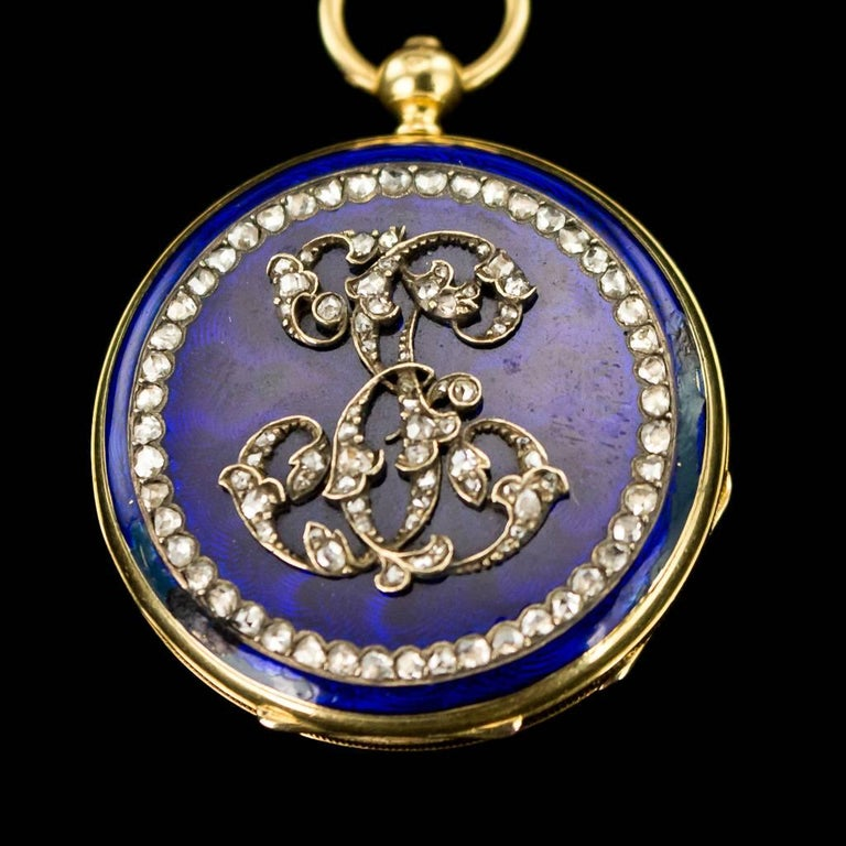 20th Century Antique French 18-Karat Gold, Enamel & Diamond-Set Watch Chatelaine, circa 1900 For Sale