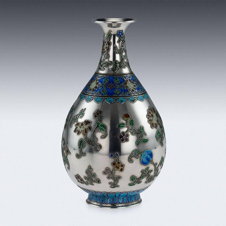 Antique 19th century extremely rare Chinese solid silver and enamel vase, the sides are applied with shaded enamel, depicting blooming chrysanthemums. The vase is of good traditional size and features stunning workmenship. Although the silver is not