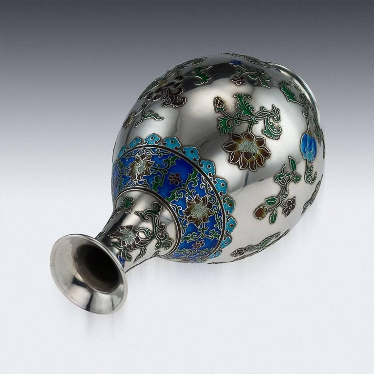 19th Century Antique Rare Chinese Export Solid Silver and Enamel Vase, circa 1880 For Sale