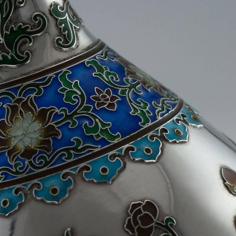 Antique Rare Chinese Export Solid Silver and Enamel Vase, circa 1880 For Sale 3