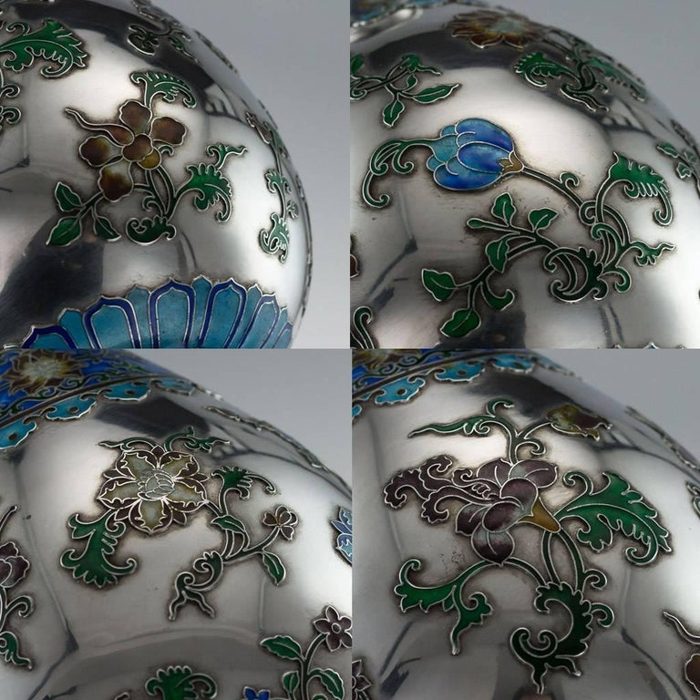 Antique Rare Chinese Export Solid Silver and Enamel Vase, circa 1880 For Sale 5