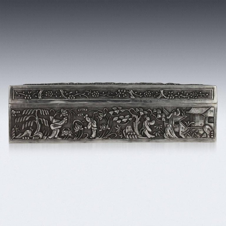 Chinese Export Antique 19th Century Chinese Solid Silver Decorative Box, Bao Cheng, circa 1890 For Sale