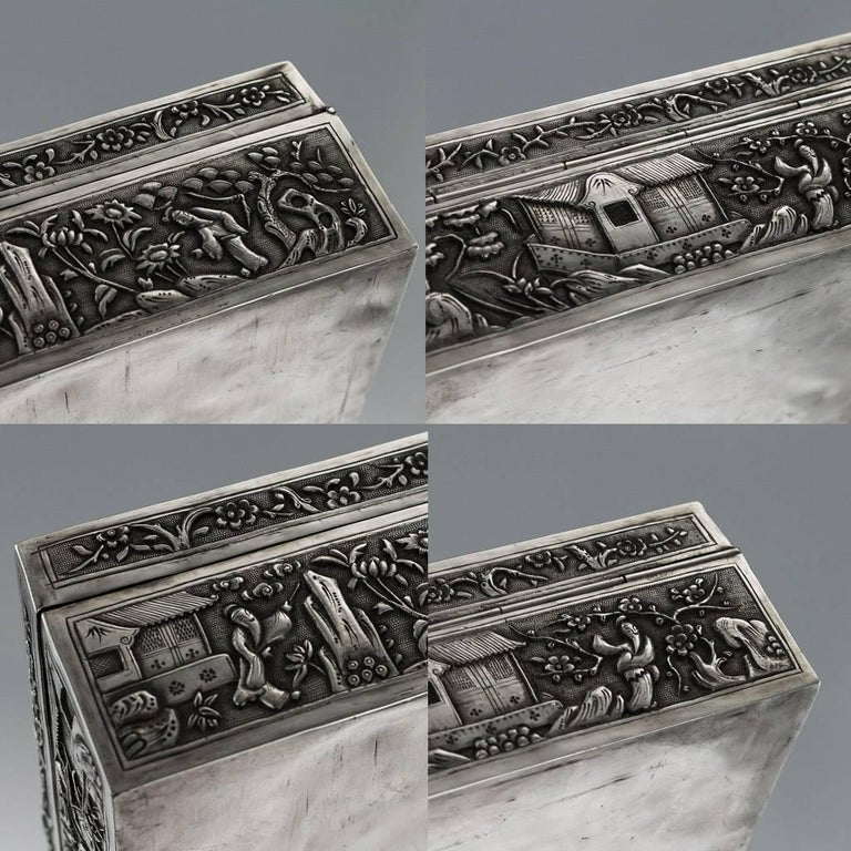 Antique 19th Century Chinese Solid Silver Decorative Box, Bao Cheng, circa 1890 For Sale 4