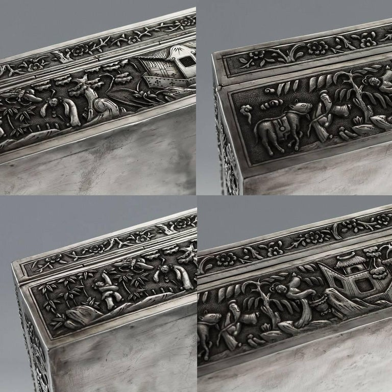 Antique 19th Century Chinese Solid Silver Decorative Box, Bao Cheng, circa 1890 For Sale 3