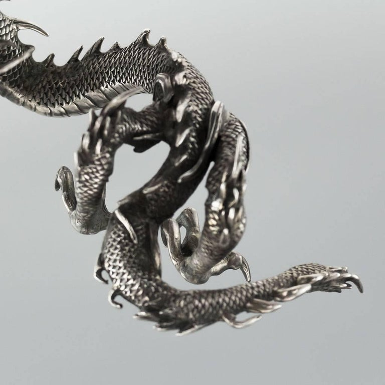 Antique Japanese Solid Silver, Enamel and Shibayama Dragon, Kazumi, circa 1890 For Sale 4