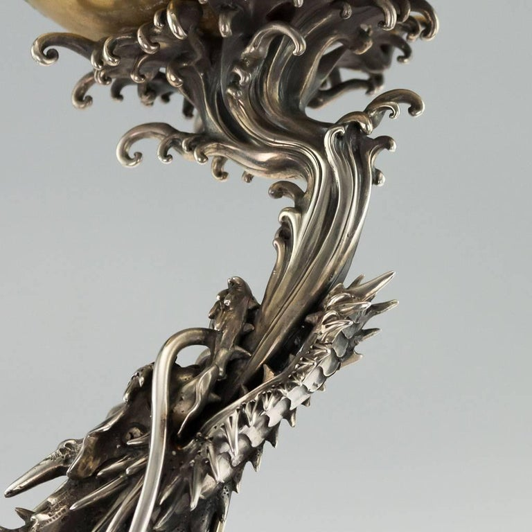 Antique Japanese Solid Silver, Enamel and Shibayama Dragon, Kazumi, circa 1890 For Sale 6