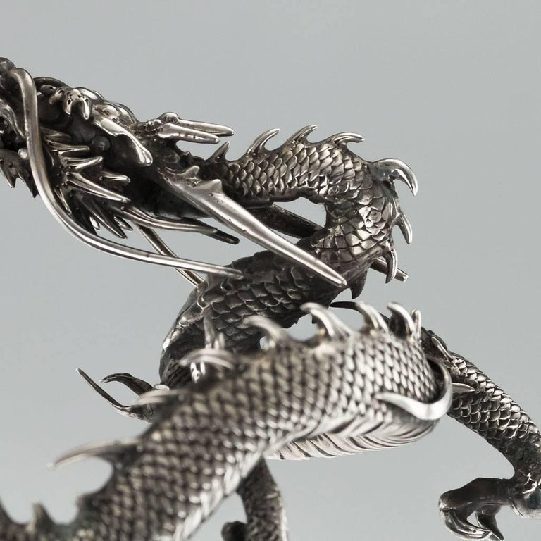 Antique Japanese Solid Silver, Enamel and Shibayama Dragon, Kazumi, circa 1890 For Sale 3