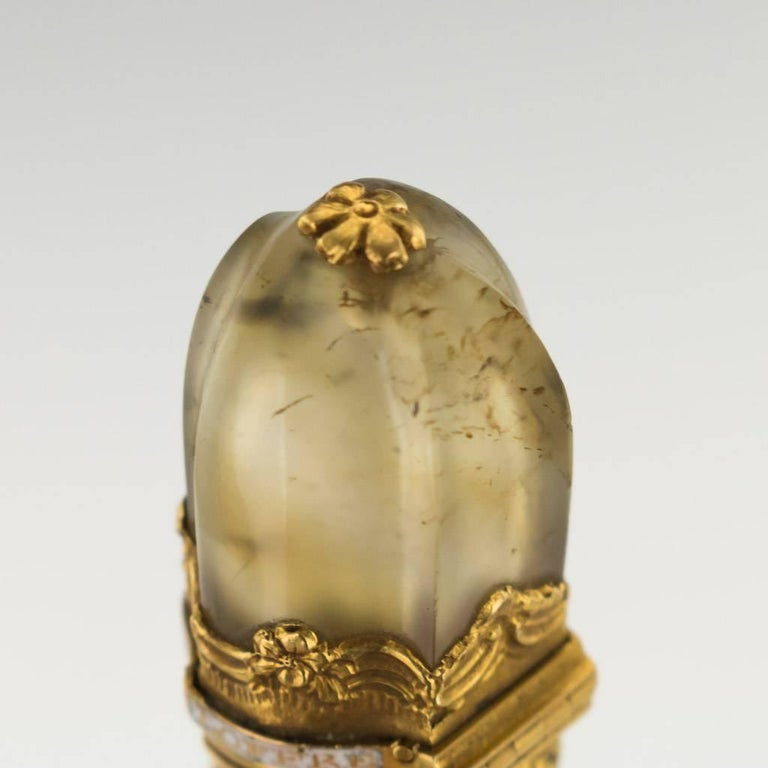 18th Century French 18-Karat Gold-Mounted Moss Agate Wax Seal, circa 1760 For Sale 3