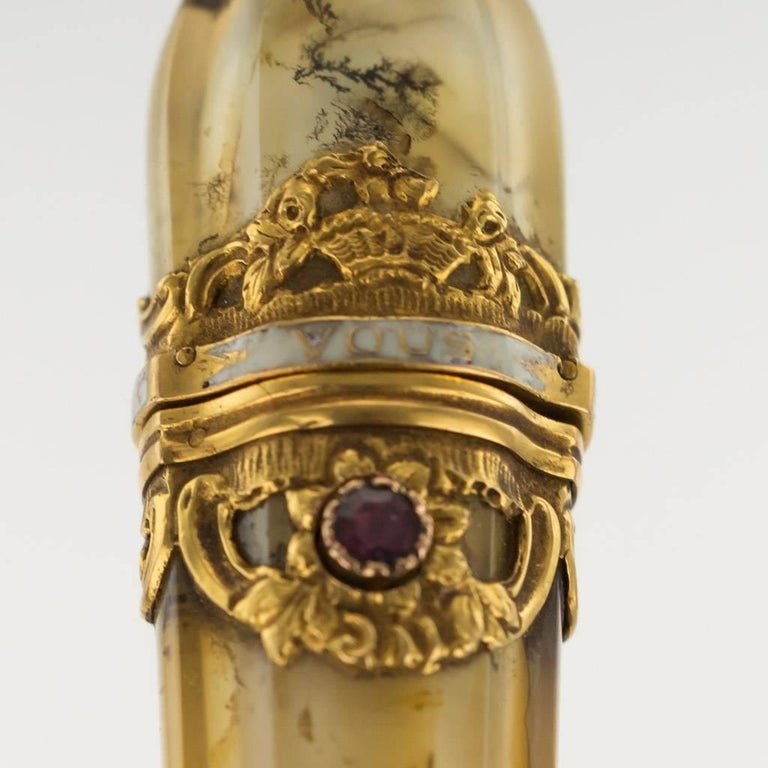18th Century French 18-Karat Gold-Mounted Moss Agate Wax Seal, circa 1760 For Sale 5