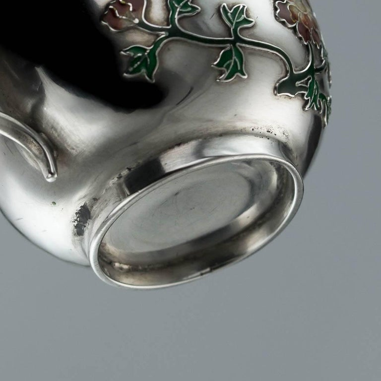 Antique Rare Chinese Export Solid Silver and Enamel Tea Cups, circa 1880 For Sale 4