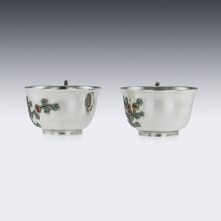Antique Rare Chinese Export Solid Silver and Enamel Tea Cups, circa 1880 In Excellent Condition For Sale In London, GB