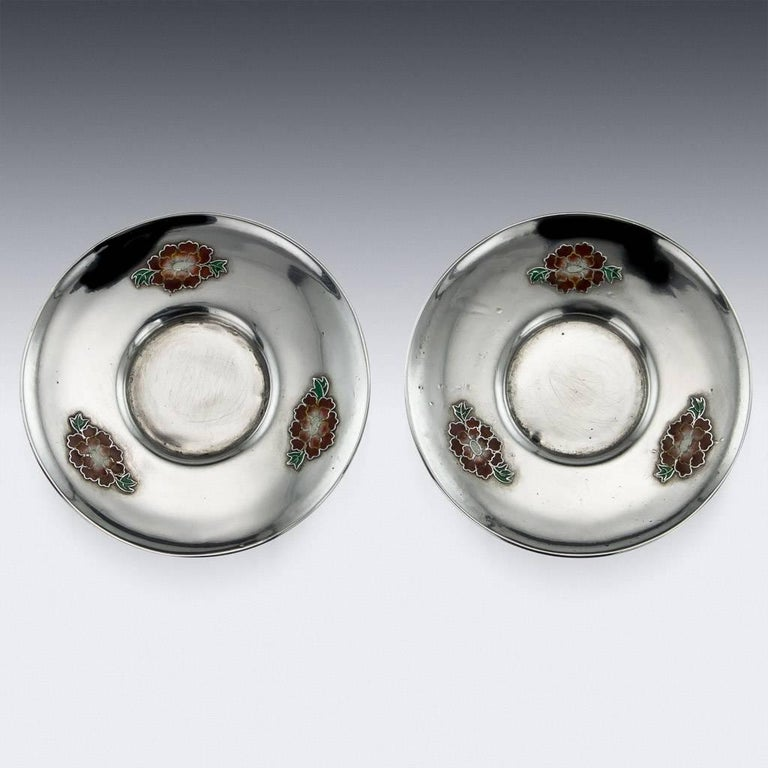 Antique Rare Chinese Export Solid Silver and Enamel Tea Cups, circa 1880 For Sale 1