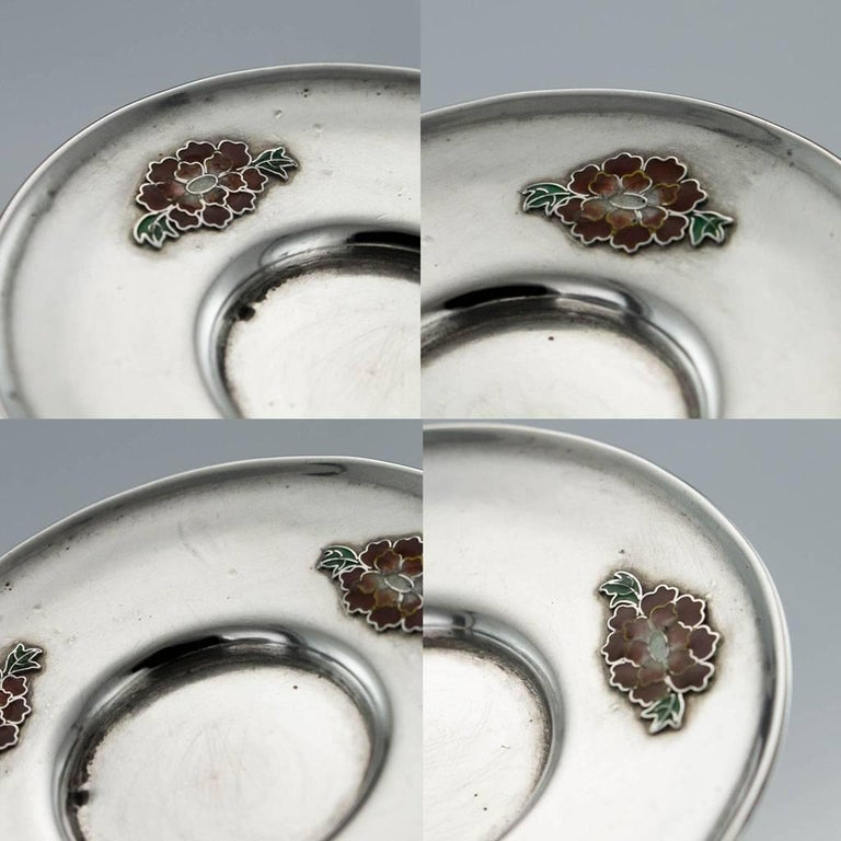 Antique Rare Chinese Export Solid Silver and Enamel Tea Cups, circa 1880 For Sale 6