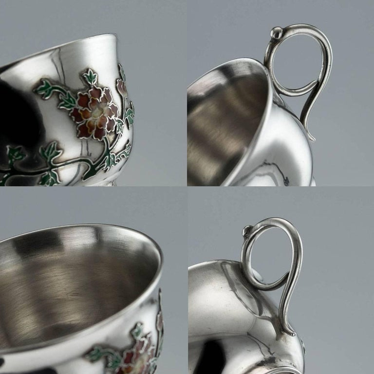 Antique Rare Chinese Export Solid Silver and Enamel Tea Cups, circa 1880 For Sale 3