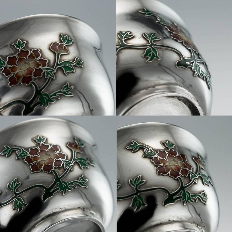 Antique Rare Chinese Export Solid Silver and Enamel Tea Cups, circa 1880 For Sale 5