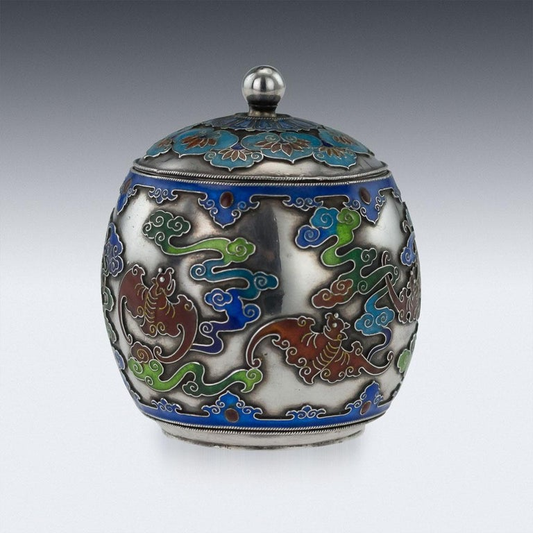 19th Century Rare Chinese Export Solid Silver and Enamel Pot, circa 1880 In Excellent Condition For Sale In London, GB