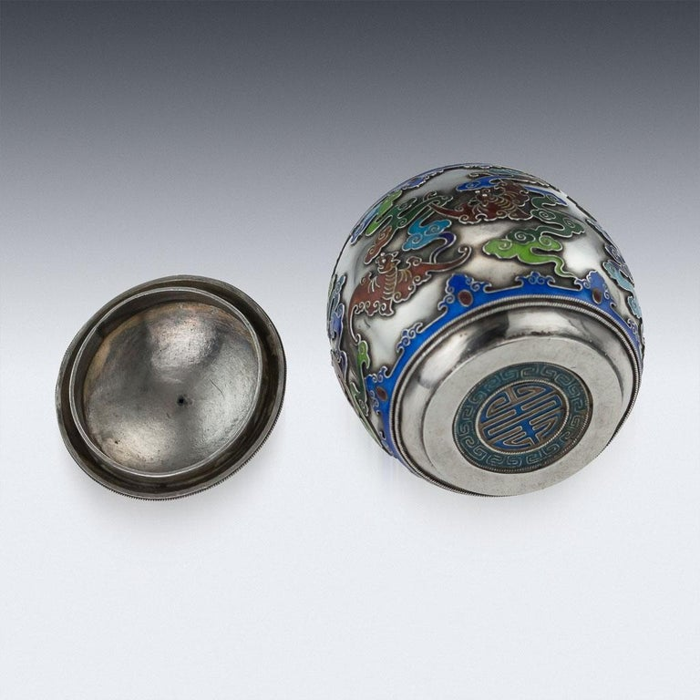 19th Century Rare Chinese Export Solid Silver and Enamel Pot, circa 1880 For Sale 2