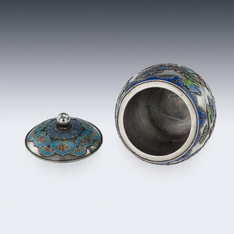 19th Century Rare Chinese Export Solid Silver and Enamel Pot, circa 1880 For Sale 3